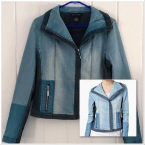 INC Denim Jean Jacket Colorblocked Moto w/ Collar